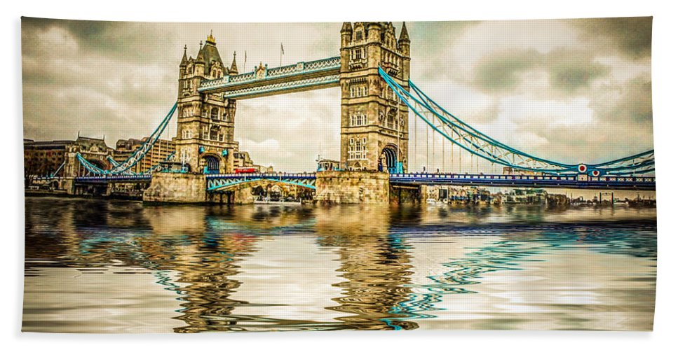 Tower Bridge Bath Sheet featuring the photograph Reflections On Tower Bridge by TK Goforth