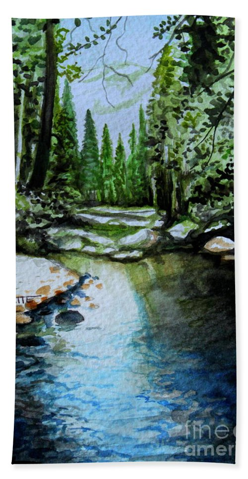 Watercolor Hand Towel featuring the painting Reflective by Elizabeth Robinette Tyndall