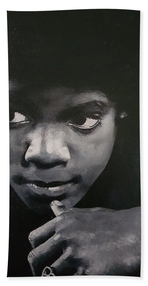 Michael Jackson Hand Towel featuring the painting Reflective Mood by Cassy Allsworth