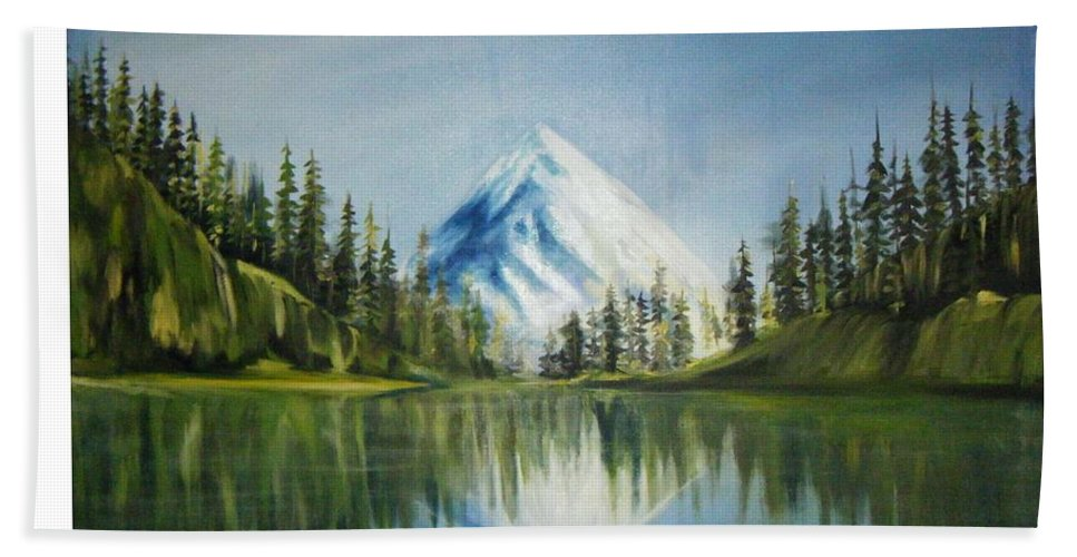 Oil Hand Towel featuring the painting Reflexion 2 by Olaoluwa Smith
