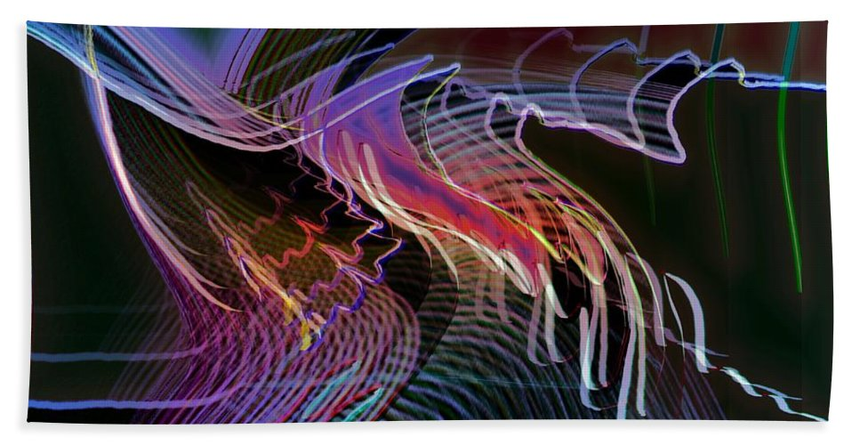 Drawing Hand Towel featuring the digital art Reflexions Blue by Helmut Rottler