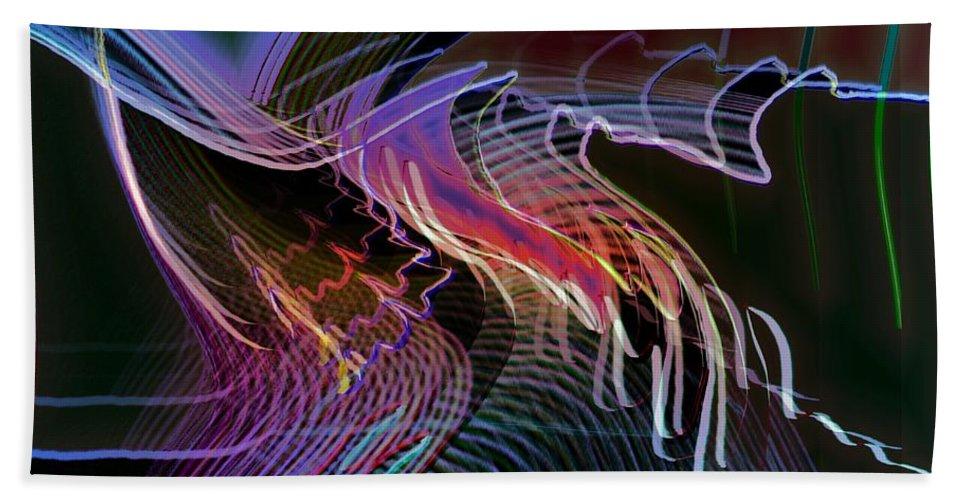 Drawing Bath Towel featuring the digital art Reflexions Blue by Helmut Rottler