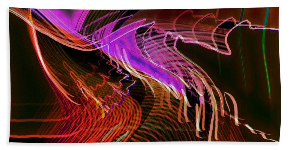 Drawing Bath Sheet featuring the digital art Reflexions Red by Helmut Rottler