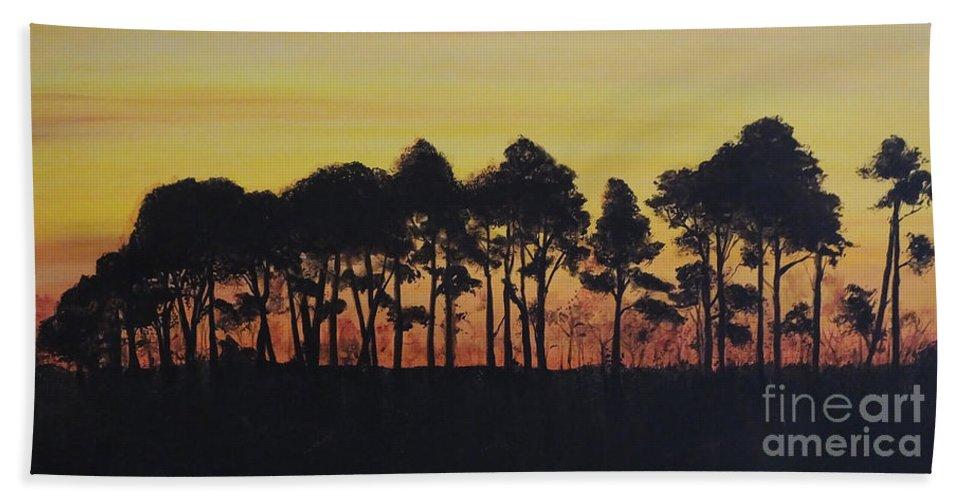 Painting Hand Towel featuring the painting Refuge Sundown by Lizi Beard-Ward