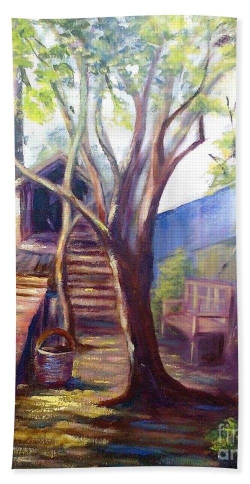 Landscape Bath Sheet featuring the painting Refugio by Fernanda Cruz