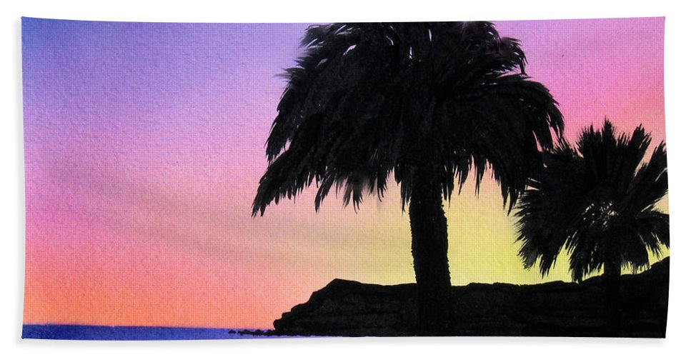 Beach Bath Sheet featuring the painting Refugio Point 1 by Angie Hamlin