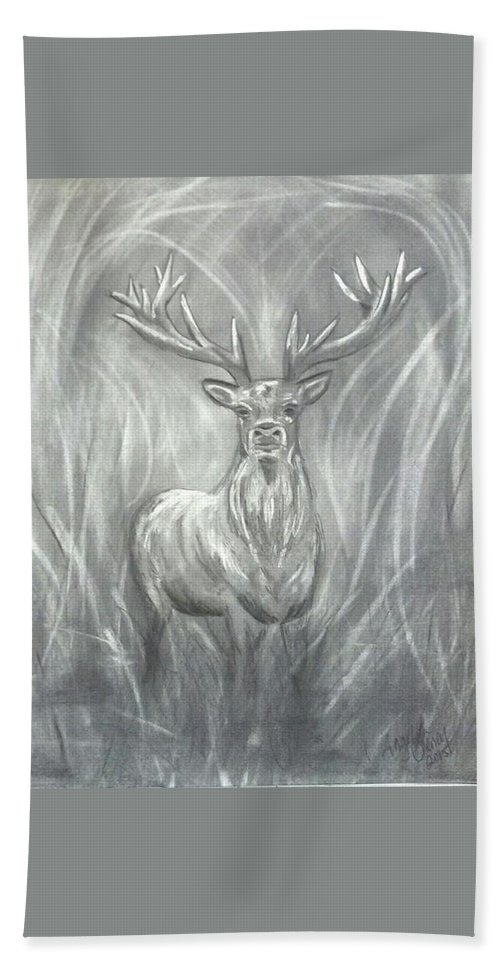 Hunting Bath Sheet featuring the drawing Regal by Angel Cheney