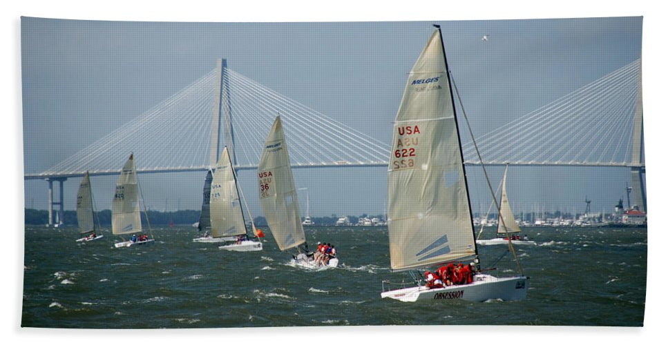 Photography Bath Sheet featuring the photograph Regatta In Charleston Harbor by Susanne Van Hulst