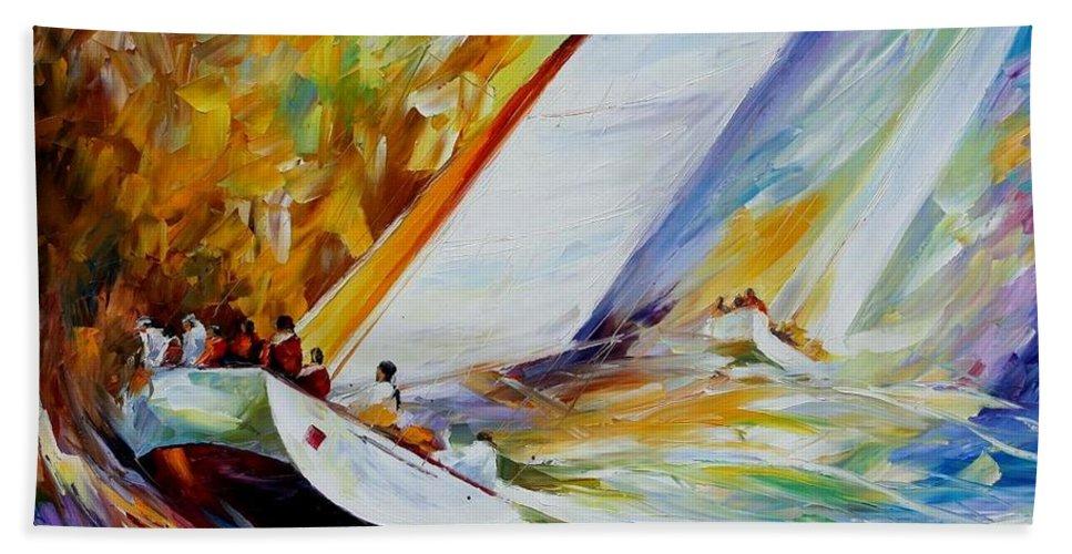 Afremov Hand Towel featuring the painting Regatta by Leonid Afremov
