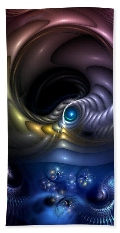 Abstract Hand Towel featuring the digital art Reincarnation - The Quandary by Casey Kotas