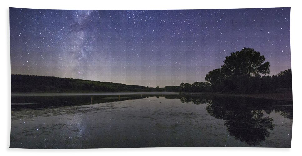 Milky Way Hand Towel featuring the photograph Relax And Look At The Stars by Aaron J Groen