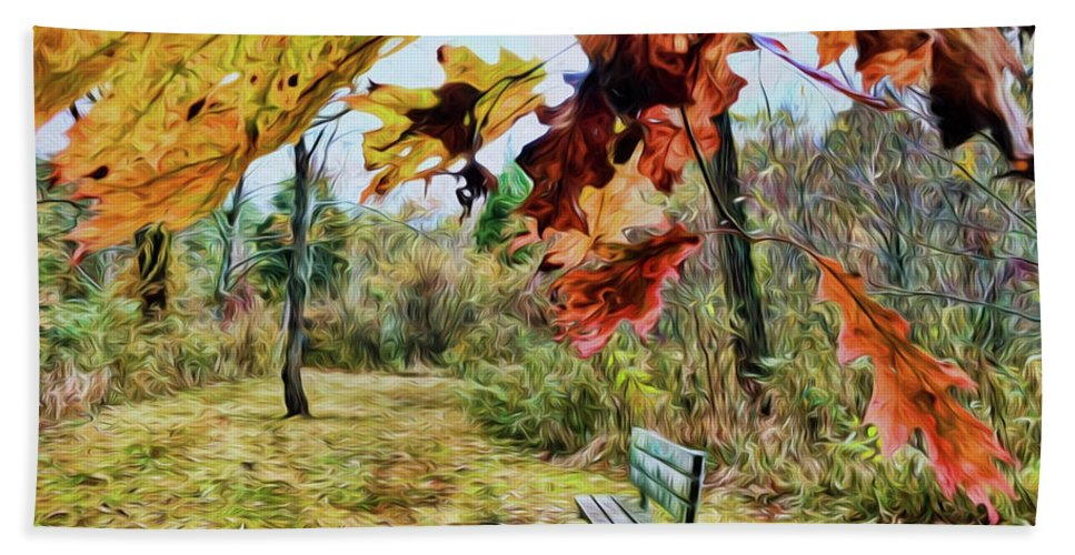 Autumn Hand Towel featuring the photograph Relax And Watch The Leaves Turn by Kerri Farley