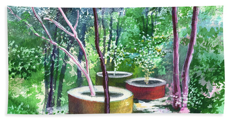 Opaque Landscape Hand Towel featuring the painting Relax Here by Anil Nene