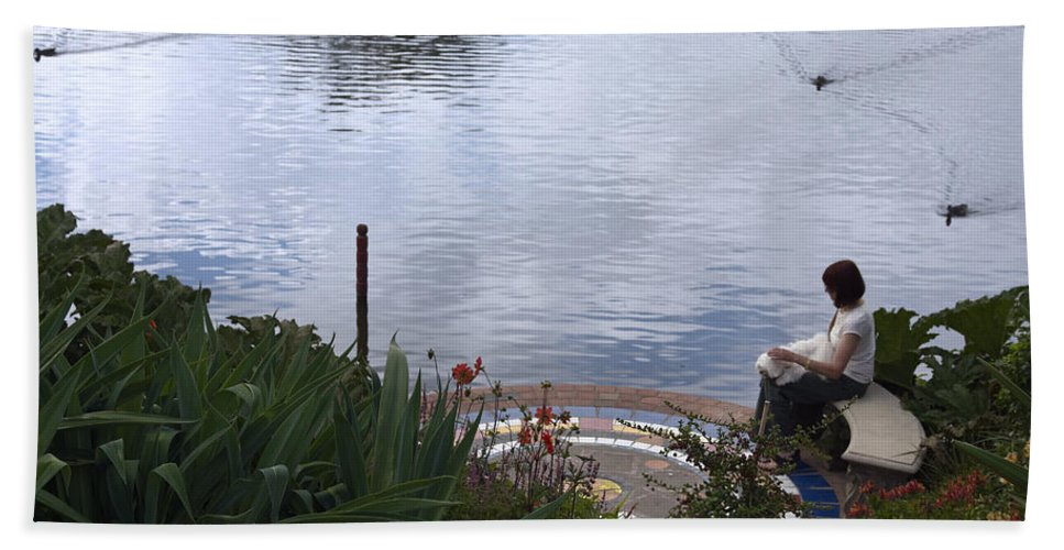 Turtle Lake Bath Sheet featuring the photograph Relaxing By The Lake by Sally Weigand