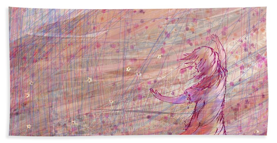 Abstract Bath Towel featuring the digital art Releasing The Daisies by William Russell Nowicki