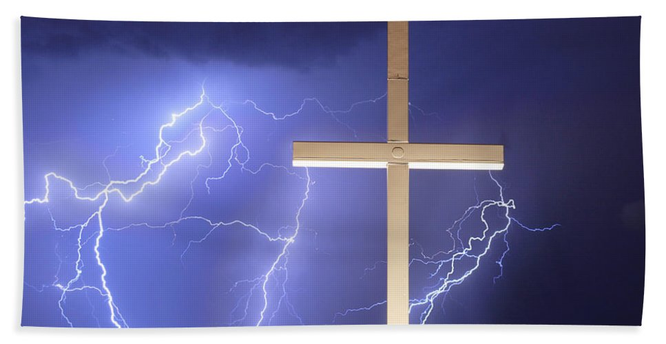 Lightning Bath Sheet featuring the photograph He Has Risen by James BO Insogna
