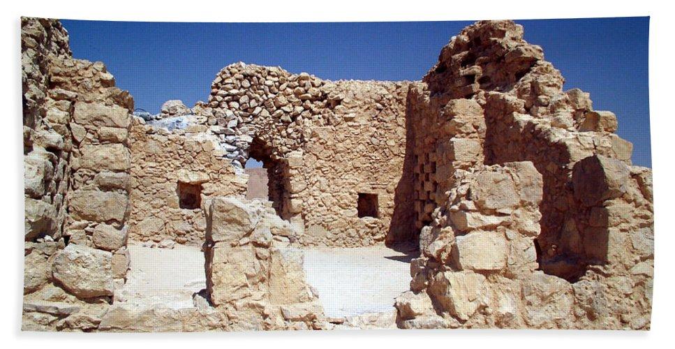Massada Hand Towel featuring the photograph Remains Of The Massada Synagogue by Avi Horovitz