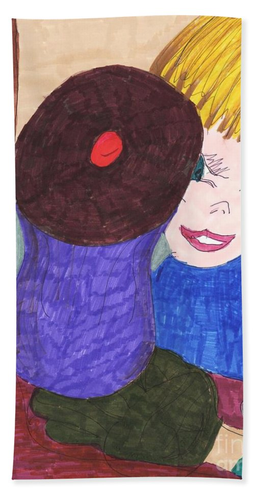 Cupcake With A Blonde Haired Blue Eyed Boy Looking At It Bath Sheet featuring the mixed media Remember When A Cupcake Was A Quarter by Elinor Helen Rakowski