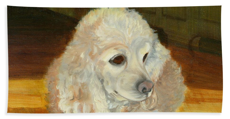 Animal Bath Towel featuring the painting Remembering Morgan by Paula Emery
