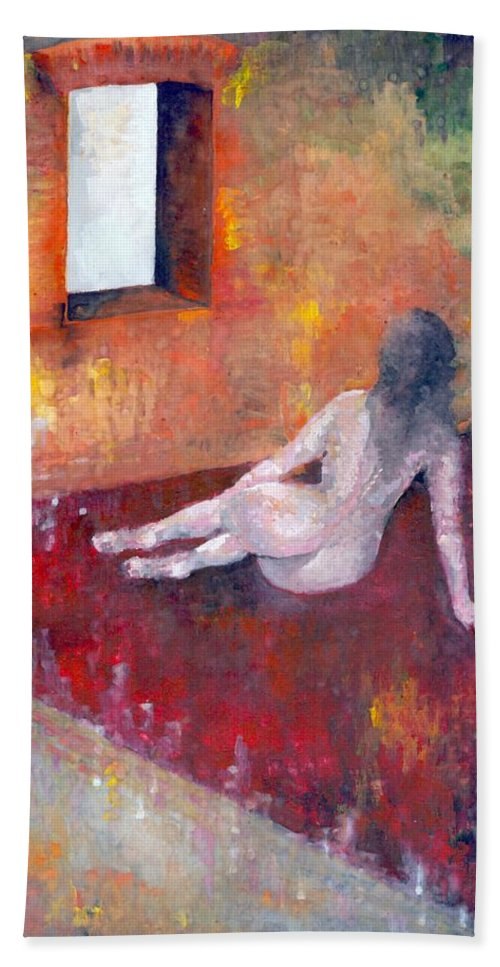 Colour Hand Towel featuring the painting Remembrance by Wojtek Kowalski