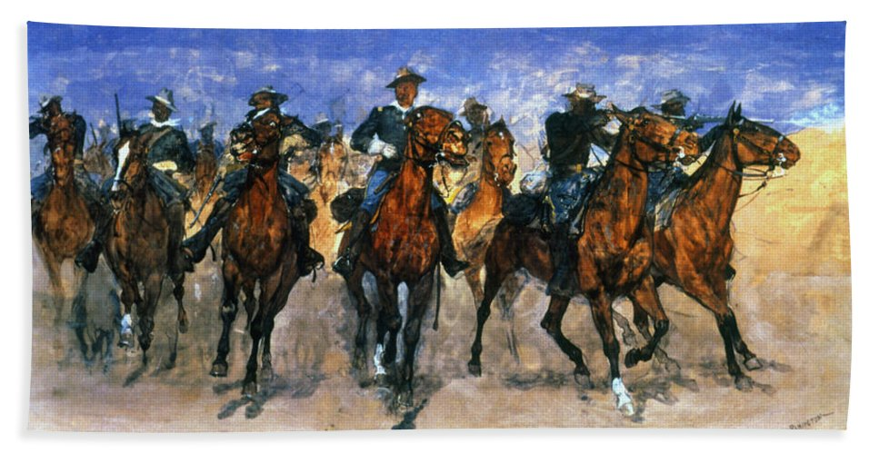 10th Cavalry Bath Sheet featuring the photograph Remington: Troopers, C1890 by Granger