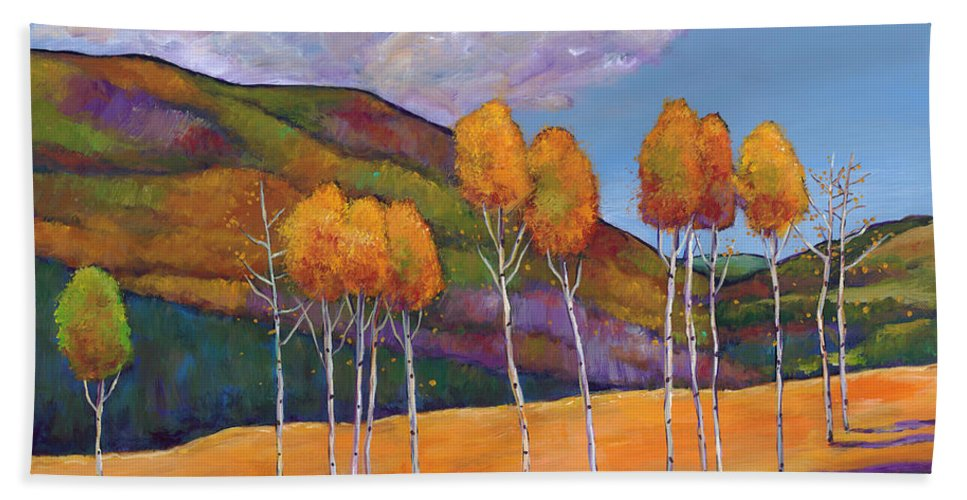 Autumn Aspen Hand Towel featuring the painting Reminiscing by Johnathan Harris