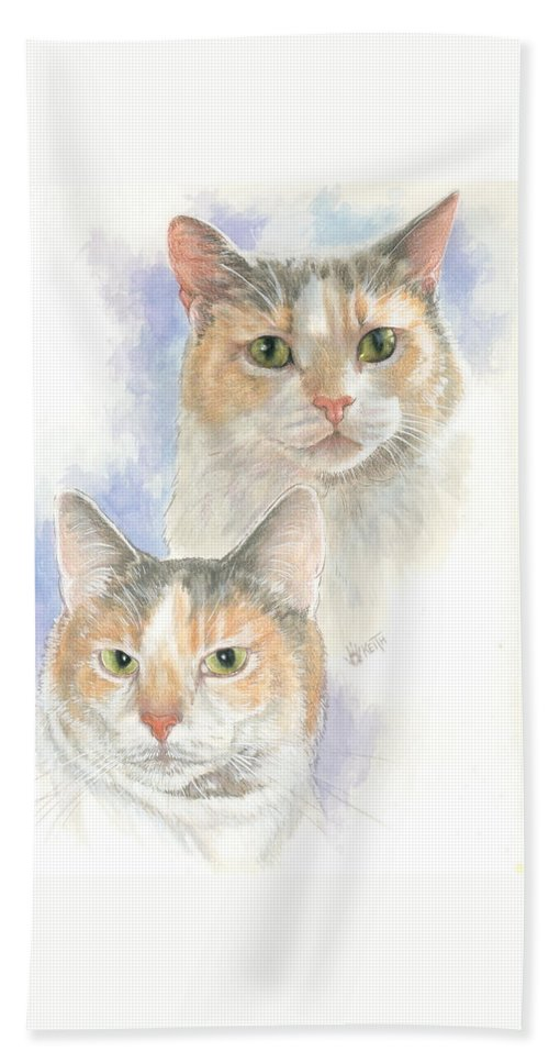 Domestic Cat Hand Towel featuring the mixed media Reno by Barbara Keith