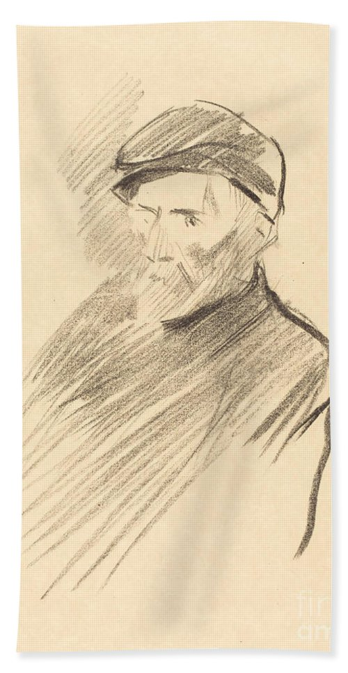 Hand Towel featuring the drawing Renoir (first Plate) by Jean-louis Forain