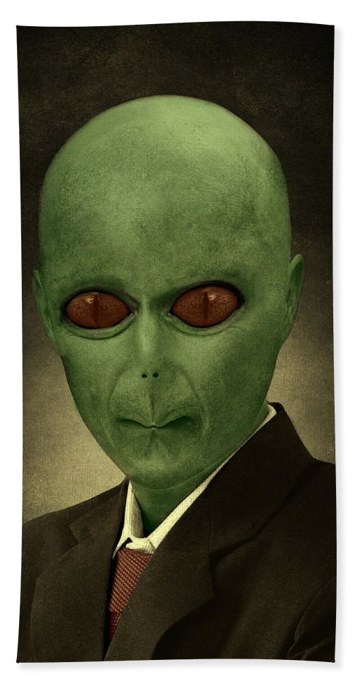 Alien Bath Sheet featuring the painting Resident Professor Of Interplanetary Research Area 51 by Movie Poster Prints