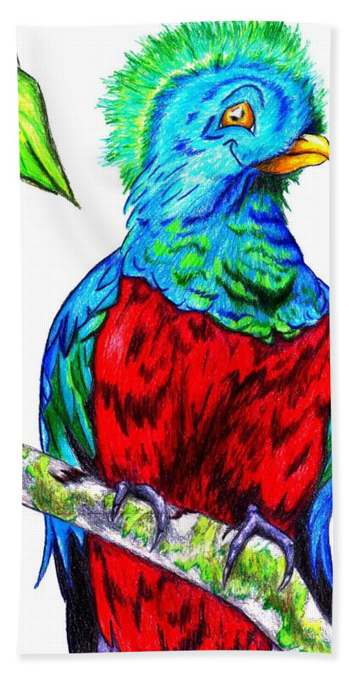 Bird Hand Towel featuring the drawing Resplendent by Bryant Lamb