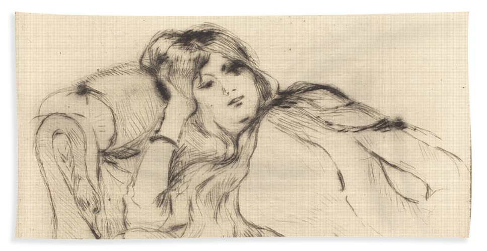 Hand Towel featuring the drawing Rest by Berthe Morisot