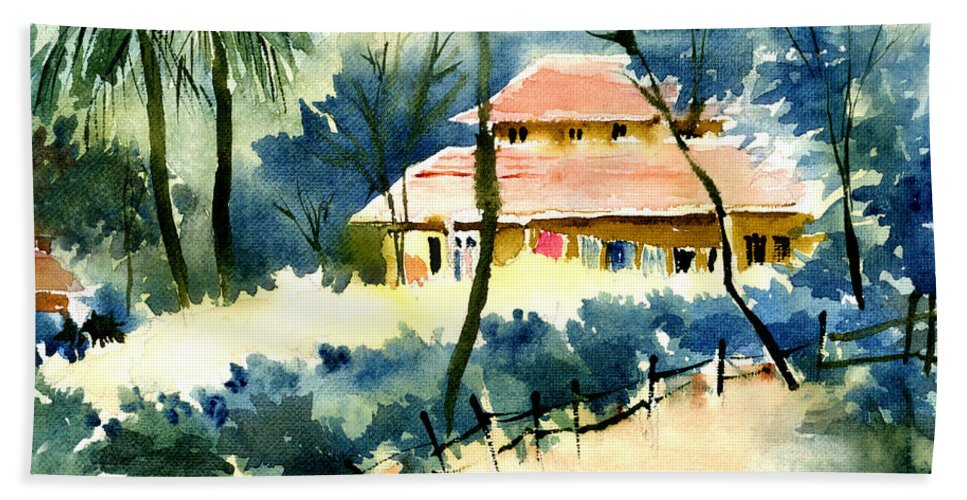 Landscape Bath Towel featuring the painting Rest House by Anil Nene