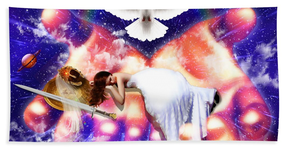 Warrior Bride Bath Sheet featuring the digital art Rest In The Lord by Dolores Develde