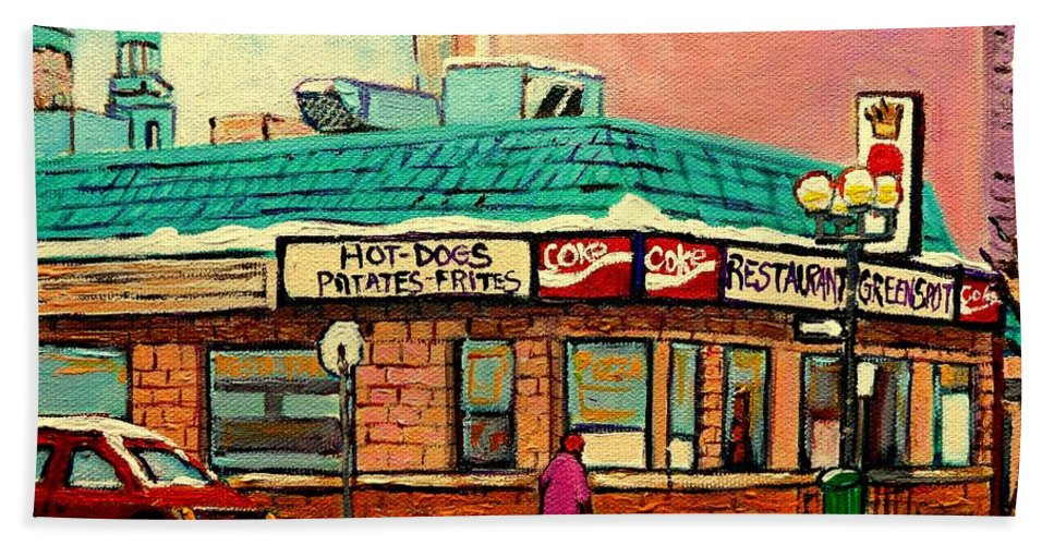 Greenspot Restaurant Deli Bath Sheet featuring the painting Restaurant Greenspot Deli Hotdogs by Carole Spandau
