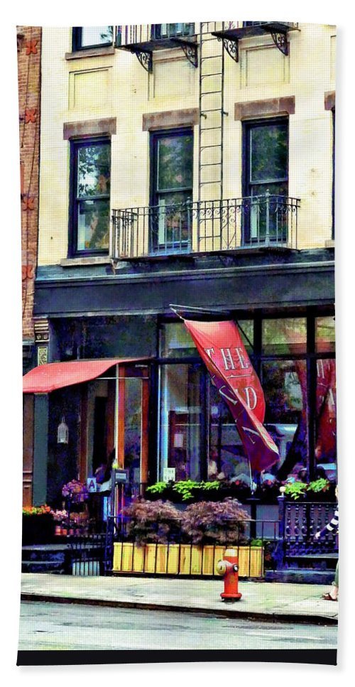 Awning Bath Sheet featuring the photograph Restaurant In Chelsea by Susan Savad