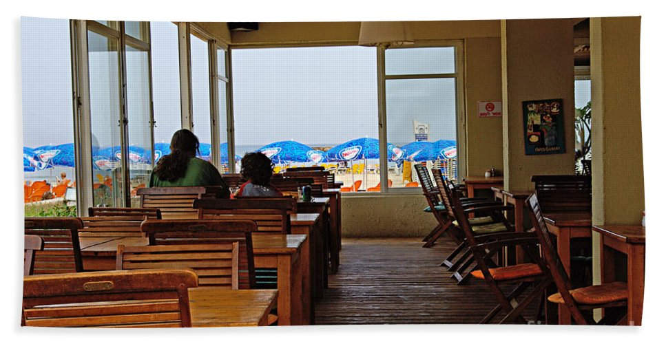 Beach Bath Sheet featuring the photograph Restaurant On A Beach In Tel Aviv Israel by Zal Latzkovich