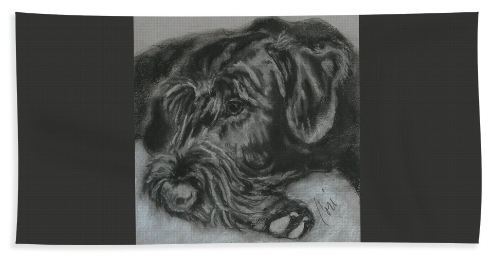 Dog Hand Towel featuring the drawing Restful Thoughts by Cori Solomon