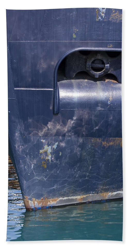 Chicago Windy City Lake Michigan Ship Boat Wave Reflection Water Steel Metal Blue Sun Sunny Hand Towel featuring the photograph Resting by Andrei Shliakhau