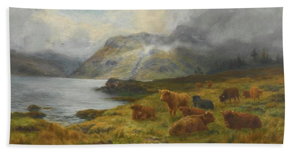 Louis Bosworth Hurt 1856-1929 Highland Cattle Resting By A Loch Bath Sheet featuring the painting Resting By A Loch by Louis Bosworth