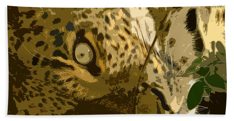 Leopard Bath Sheet featuring the painting Resting Leopard by David Lee Thompson