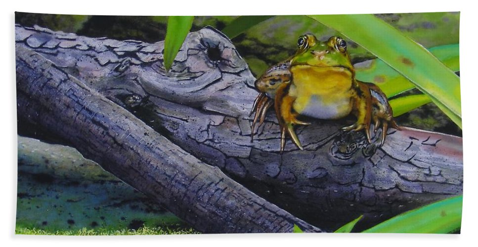 Frog Hand Towel featuring the painting Restingplace by Denny Bond