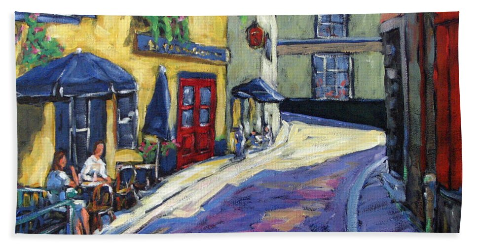 Restaurant Bath Towel featuring the painting Resto Le Cochon Dingue In Old Quebec by Richard T Pranke