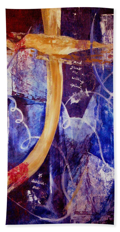 Abstract Hand Towel featuring the painting Restore To Me by Ruth Palmer