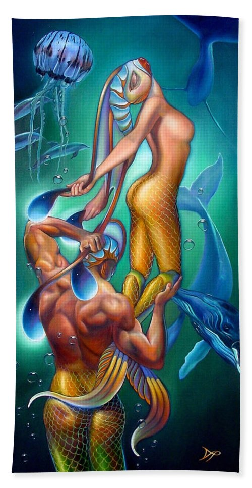 Mermaid Hand Towel featuring the painting Resurrection by Patrick Anthony Pierson