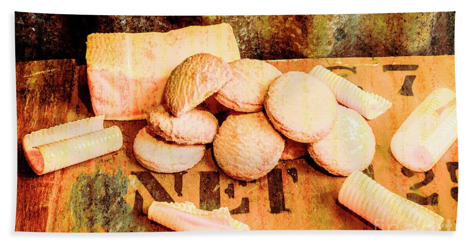 Metal Bath Towel featuring the photograph Retro Butter Shortbread Wall Artwork by Jorgo Photography - Wall Art Gallery