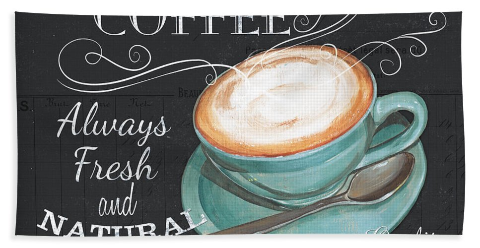 Coffee Hand Towel featuring the painting Retro Coffee 1 by Debbie DeWitt