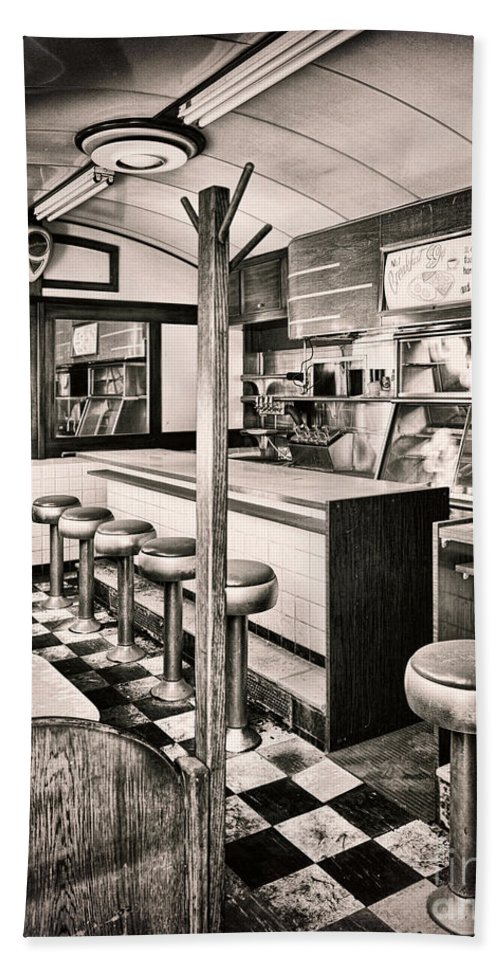 Retro Diner Bath Sheet featuring the painting Retro Fifties Diner by Mindy Sommers