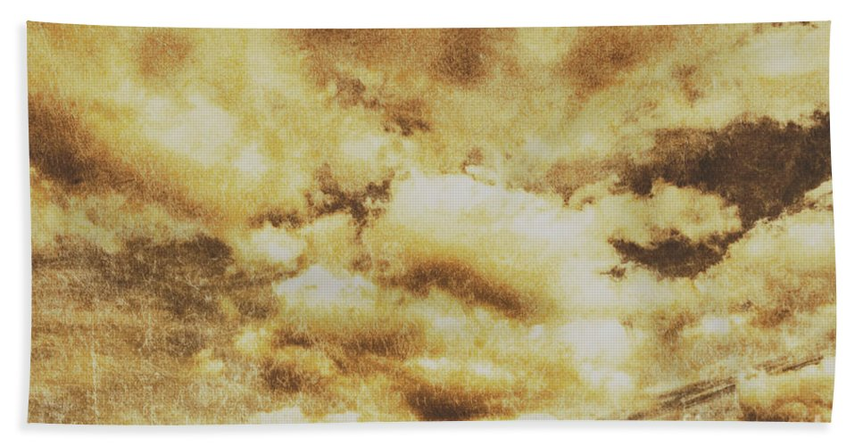 Dramatic Bath Towel featuring the photograph Retro Grunge Cloudy Sky Background by Jorgo Photography - Wall Art Gallery