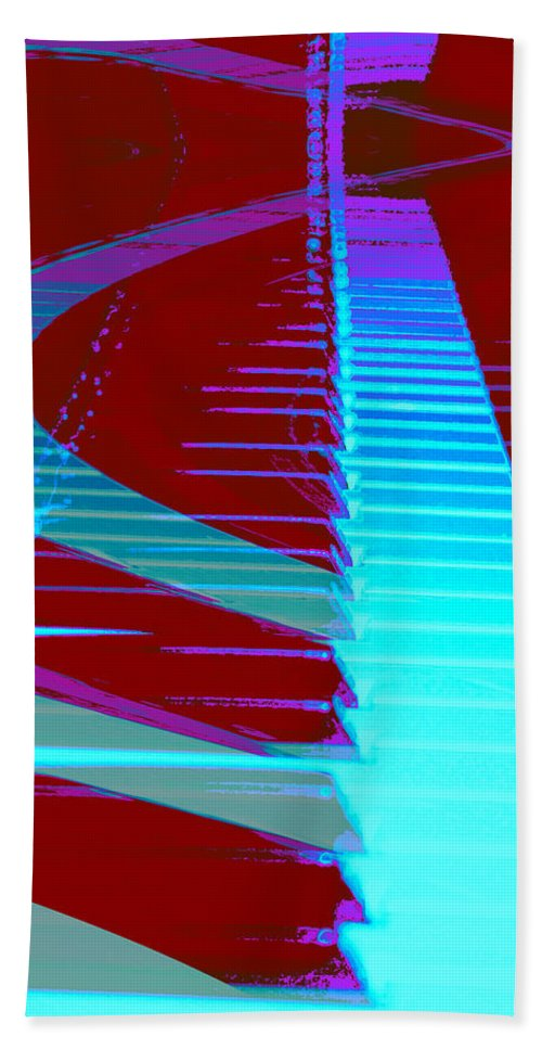 Piano Art Hand Towel featuring the photograph Retro Keys by Linda Sannuti