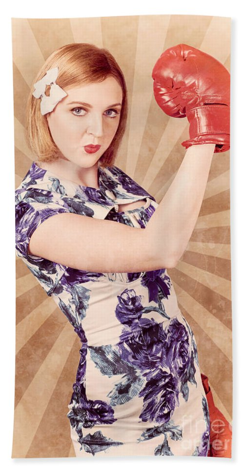 Champion Hand Towel featuring the photograph Retro Pinup Boxing Girl Fist Pumping Glove Hand by Jorgo Photography - Wall Art Gallery